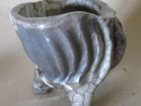 Charcoal Raku Pinch Pot
