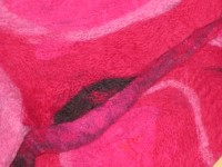 Detail from fuschia scarf with sari silk